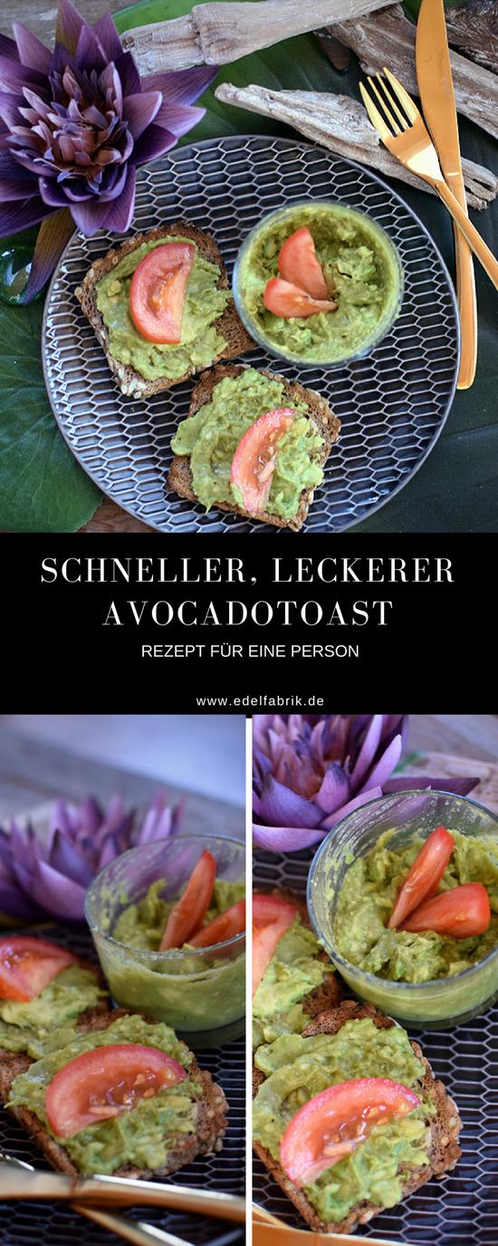 Avocadotoast, einfaches, schnelles Rezept für Avocadotioast