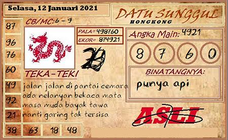 Prediksi HK Selasa 12 Januari 2021 - Datu Sunggul
