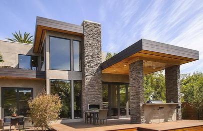 model rumah batu alam tampak depan