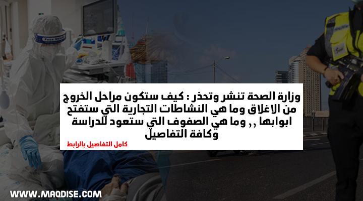 وزارة الصحة: النظر في خروج محدود من الاغلاق المفروض في الاسبوع المقبل : كامل التفاصيل