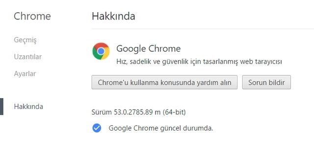 Google Chrome tarayıcı 53.0.2785.89 m birçok değişikliklerin yapıldığı yeni sürüme güncellendi. Chrome tarayıcınızı kontrol ederek son kararlı ve değişiklerden oluşan yeni sürümü hemen yükleyin.
