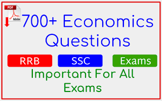700+ Economics Questions In English For RRB , SSC and Other Competitive Exams