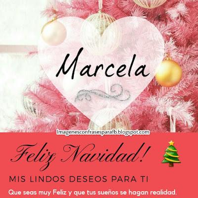 Tarjeta personalizada para Navidad con el nombre Marcela
