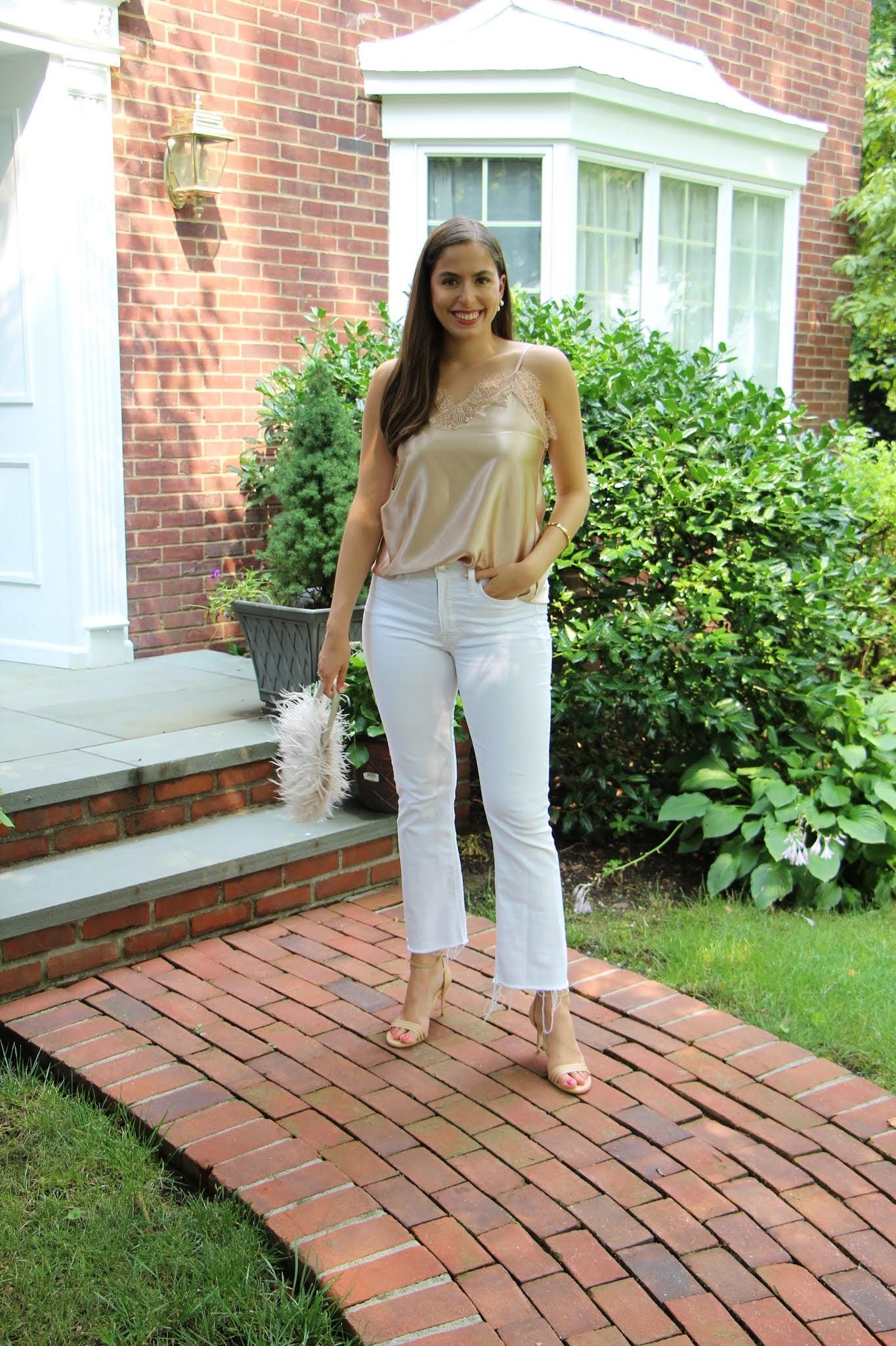 white jeans, sarah flint, lace tank top, satin tank top, feather bag