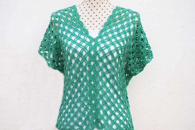 1 - Crochet Imagen Blusa verde de verano a crochet y ganchillo por Majovel Crochet