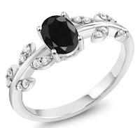 anel de safira negra
