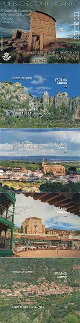 Pueblos con Encanto, El Castell de Guadalest, Villanueva de la Jara, Chinchón, Fornalutx, filatelia, sellos