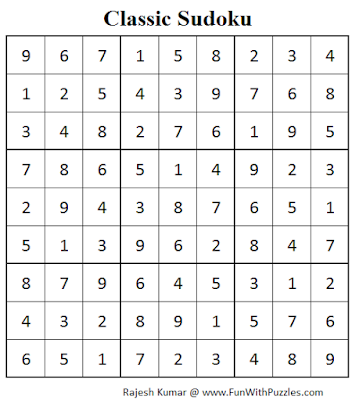Classic Sudoku (Fun With Sudoku #68) Solution