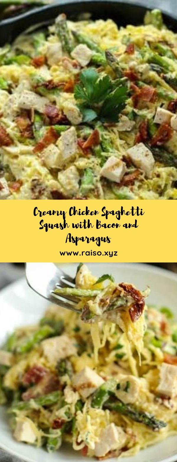 Creamy Chicken Spaghetti Squash with Bacon and Asparagus #dinner #spaghettisquash #weeknight