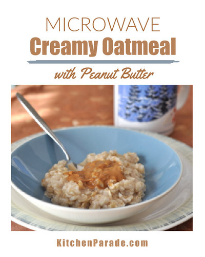 Microwave Creamy Oatmeal with Peanut Butter ♥ KitchenParade.com, my morning ritual, oatmeal cooked in the microwave with a swirlful of peanut butter.