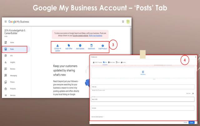 Google My Business Account – 'Posts' Tab