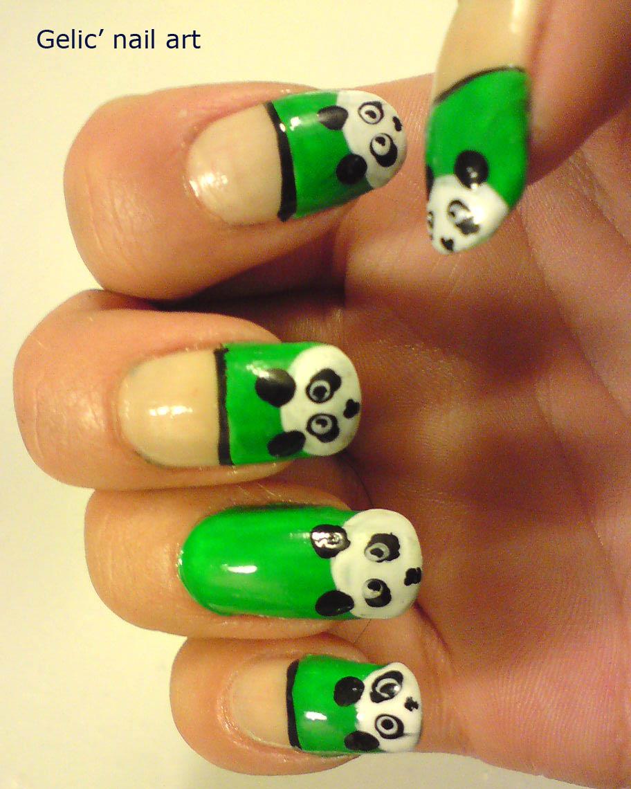 Panda Nail Art: Gelic' Nail Art: Cute Panda Nail Art On Green Funky French