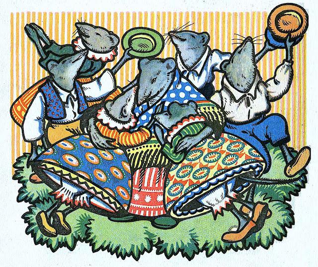 Rudolf Mates children's book illustration of dancing mice