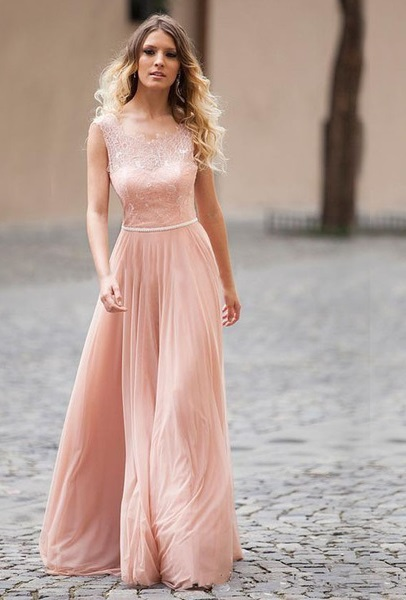 For a vintage touch: a powder pink lace prom dress by Sherry London