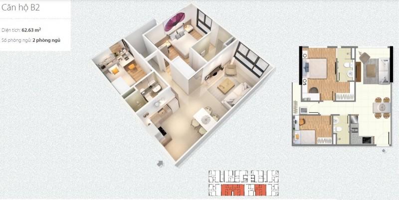 Thiết kế căn hộ 2 Phòng ngủ Chung cư 789 Xuân Đỉnh