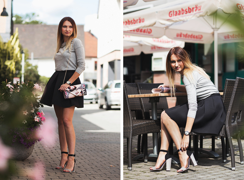 czarna spódnica, szara bluzka, girl, style, fashionstreet