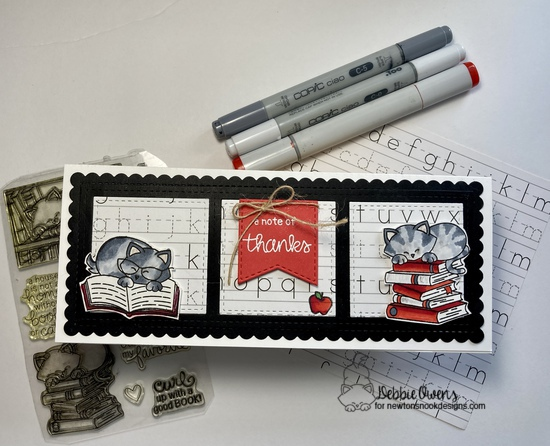 A note of thanks by Debbie features Classy Teachers, Newton's Book Club, & Slimline Frames & Windows by Newton's Nook Designs; #inkypaws, #newtonsnook, #catcards, #thankyoucards, #cardmaking