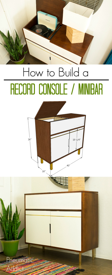 How to build a mid-century vinyl record console cabinet minibar with built-in speakers and plenty of storage FREE Building plans