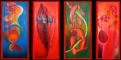 4 Seiten eines Paravents. Motive abstrakt. 1) runder Korpus, rötlich-gelb-orange vor blauem Hintergrund schwebend. 2) stilisierte Vulva mit blauem Querbinder an Klitoris. 3) Zwei durchlöcherte stilisierte, amorphe Klumpen rötlich, von einem Tau durchdrungen vor grünem Hintergrund. 4) stilisierte Elemente, soft in Rottönen mit weiblichen und männlichen Attributen. Reales Objekt ist in Öl, von mir auf frei gespannt hängende Jute gemalt, mit einer Höhe von 1,8 Meter.