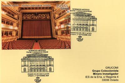Tarjeta del GRUCOMI  con el sello del Teatro Campoamor