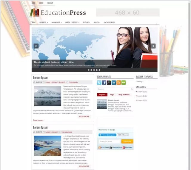 free responsive blogger template for education sites