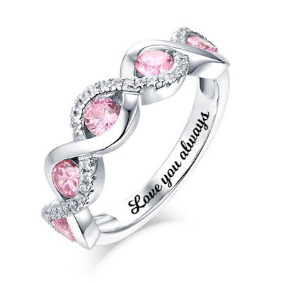 Personalized Twist Band Birthstone Ring Sterling Silver