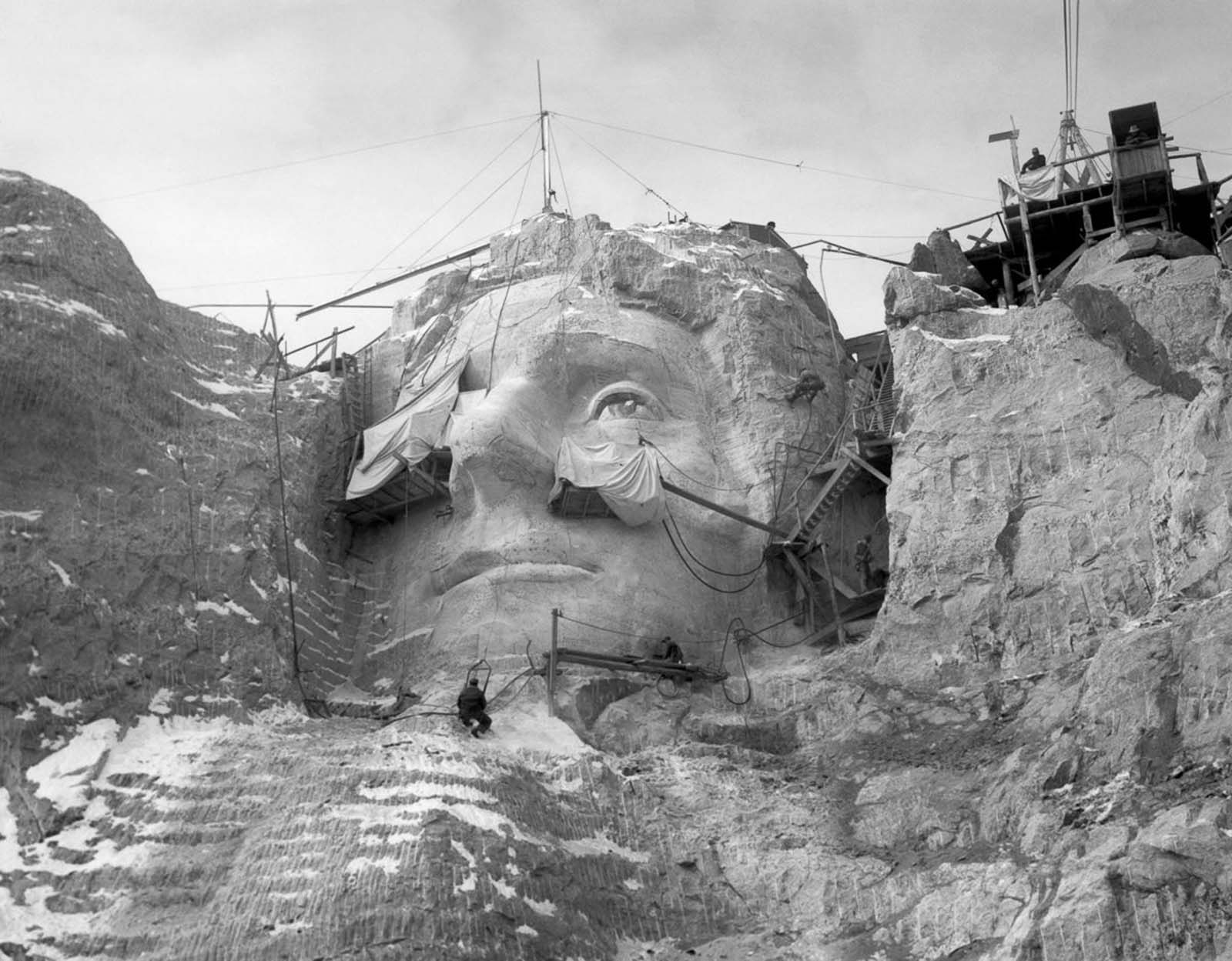 Working on the face of Thomas Jefferson. 1935.