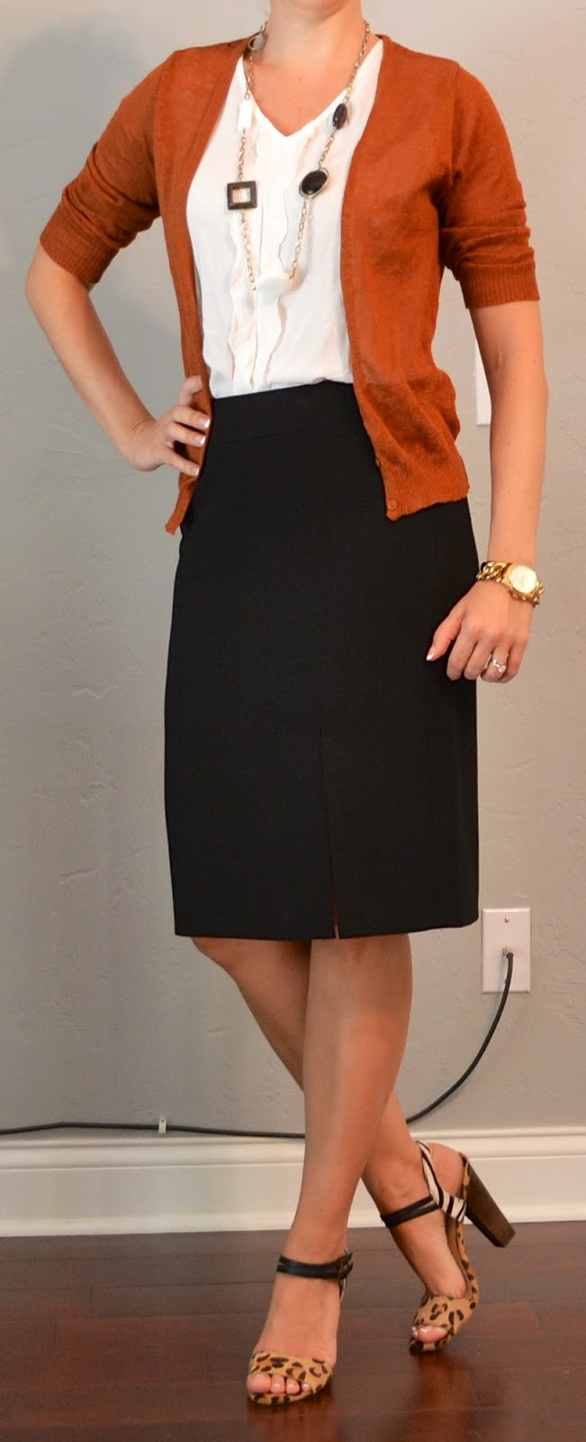 outfit posts rust cardigan black pencil skirt white