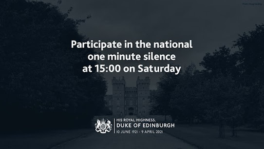 Black official UK GOv notice Participate in the 1 minute silence 3pm Saturday 17th April