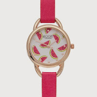 Ladies pink melon dial analogue watch