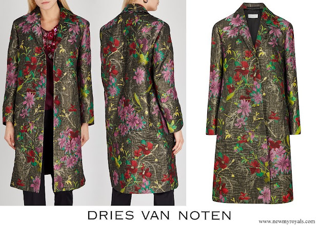 Queen Mathilde wore Dries van Noten Rolta floral jacquard coat