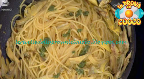Prova del cuoco - Ingredienti e procedimento della ricetta Spaghetti al pesto con carciofi e zafferano di Claudio Silvestri