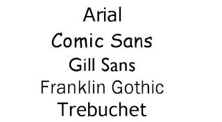 اشكال خط عائلة sans serif