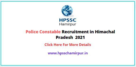 Police Constable Recruitment in Himachal Pradesh  2021
