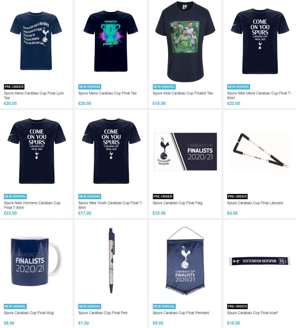 Tottenham Hotspur are selling Carabao Cup final merchandise