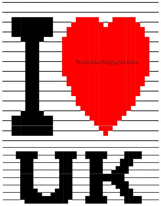 I Love United Kingdom Copy Paste Text Art Cool ASCII Text Art 4 U