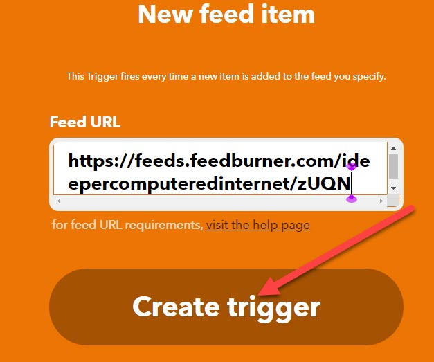 creare trigger con IFTTT e RSS Feed