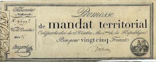 Франция. Территориальный мандат 25 франков 1796 года.