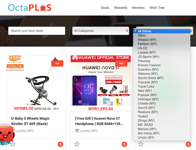 "Just choose ""All Stores"" in the search column and you'll get price comparisons of the product you're searching for in Lazada (MY), Shopee (MY), Guardian (MY), Watson (MY) and more!"