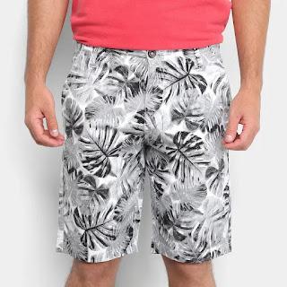 Bermuda Malwee Comfort Masculina - Branco e Preto