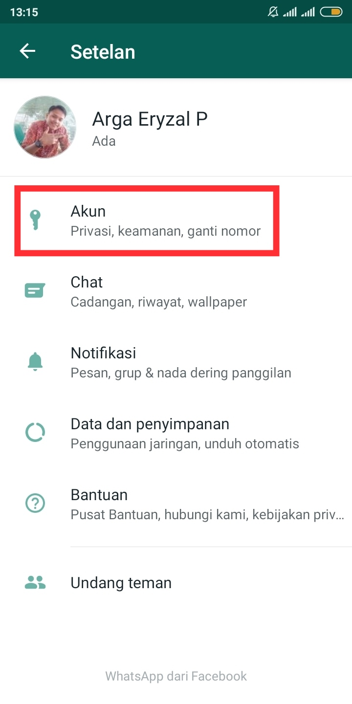 menu akun fingerprint whatsapp