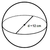 Volume bola dengan diameter 12 cm adalah ...
