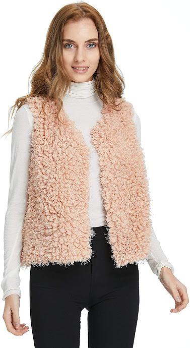 Beautiful Pink Faux Fur Vests For Women