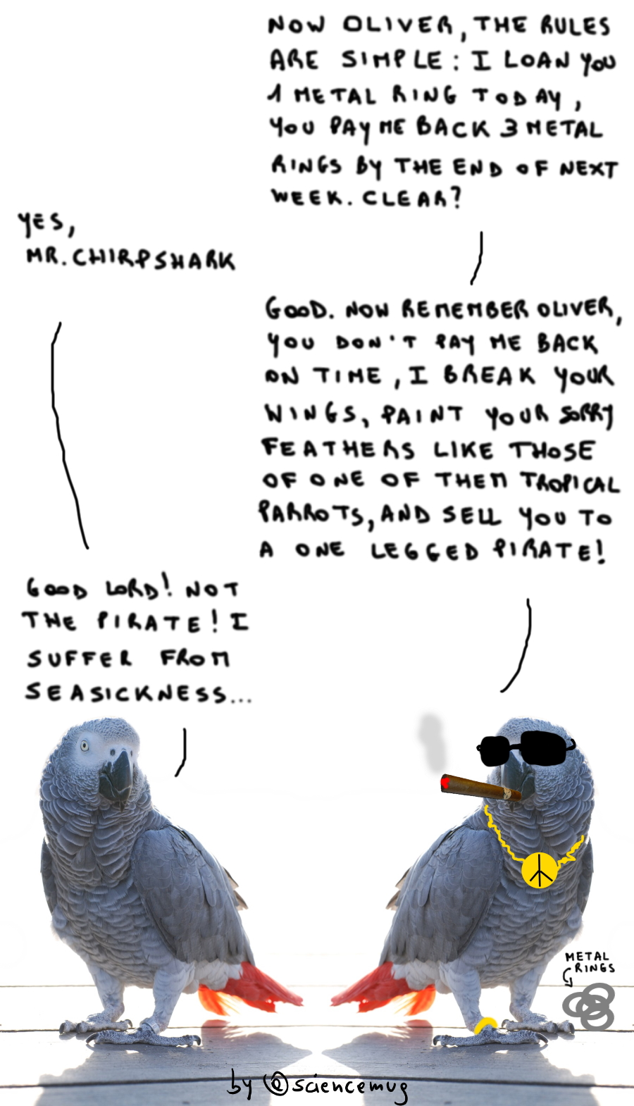 One parrot is a shark and loan one metal ring to the other one (by @sciencemug)