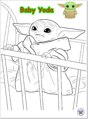 star wars baby yoda coloring page