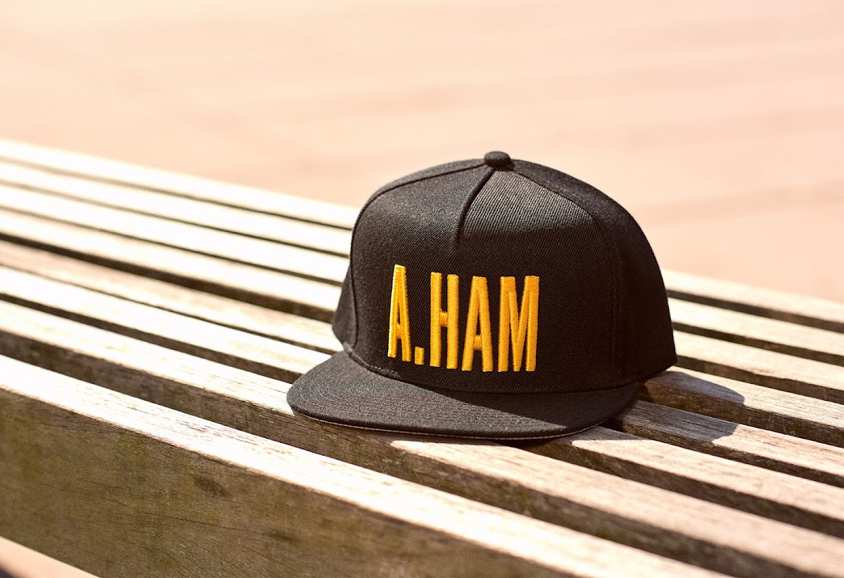 A.Ham black hat with gold lettering