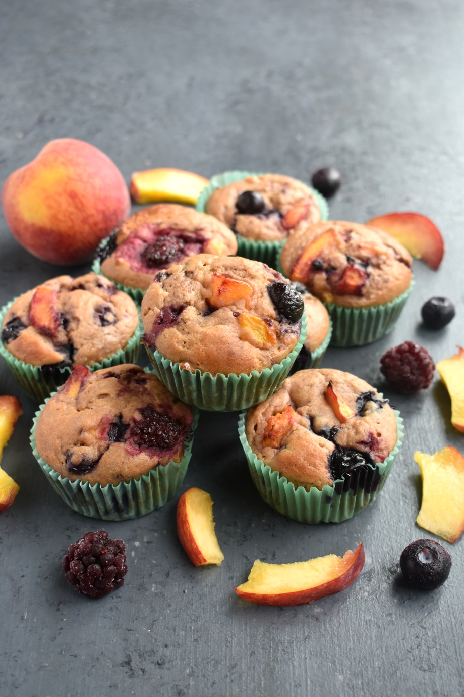 Healthy Berry Peach Muffins