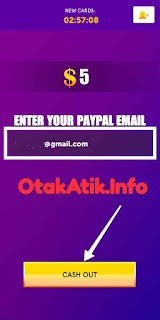 input paypal email dan cash out
