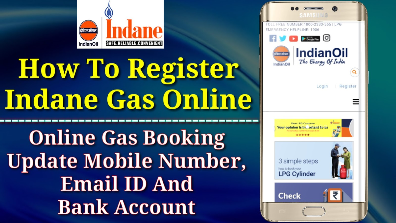 How To Register Indane Gas Online   Online Gas Booking Or Update ...