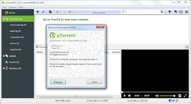 Screenshot µTorrent Pro 3.5.5 Build 45608 Full Version